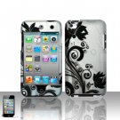 Hard Plastic Rubber Feel Design Case for Apple iPod Touch 4 - Silver and Black Vines