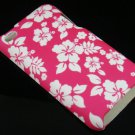 Hard Plastic Rubber Feel Design Case for Apple iPod Touch 4 - Pink Hawaiian Flowers