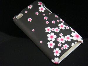 Hard Plastic Rubber Feel Design Case for Apple iPod Touch 4 - Cherry Blossom
