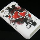 Hard Plastic Rubber Feel Design Case for Apple iPod Touch 4 - Inked Hearts