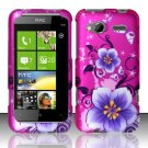 Hard Plastic Rubber Feel Design Case for HTC Radar 4G - Hot Pink Flowers and Butterfly