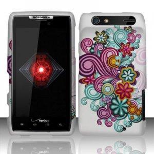 Hard Plastic Rubber Feel Design Case for Motorola Droid RAZR XT912 - Purple and Blue Flowers
