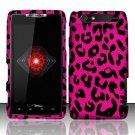 Hard Plastic Rubber Feel Design Case for Motorola Droid RAZR XT912 - Hot Pink Leopard