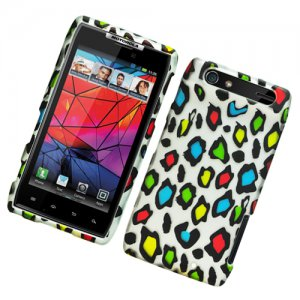 Hard Plastic Rubber Feel Design Case for Motorola Droid RAZR XT912 - Colorful Leopard
