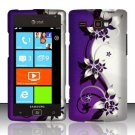 Hard Plastic Rubber Feel Design Case for Samsung Focus Flash i677 (AT&T) - Silver and Purple Vines