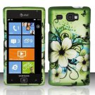 Hard Plastic Rubber Feel Design Case for Samsung Focus Flash i677 - Green Flowers and Butterfly
