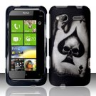 Hard Plastic Rubber Feel Design Case for HTC Radar 4G - Ace of Spade Skull