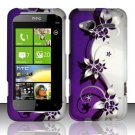 Hard Plastic Rubber Feel Design Case for HTC Radar 4G - Silver and Purple Vines