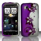 Hard Plastic Rubber Feel Design Case for HTC Sensation 4G - Silver and Purple Vines