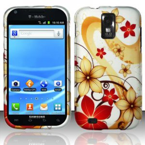Hard Plastic Rubber Feel Design Case for Samsung Galaxy S II/Hercules T989 - Red and Gold Flowers