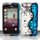 Hard Plastic Rubber Feel Design Case for HTC Rhyme/Bliss 6330 - Silver and Blue Vines