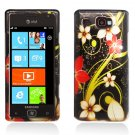 Hard Plastic Design Case for Samsung Focus Flash i677 (AT&T) - Red and Gold Flowers