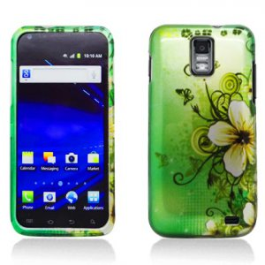 Hard Plastic Design Case for Samsung Galaxy S II Skyrocket i727 (AT&T) - Green Flowers & Butterfly