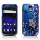 Hard Plastic Design Case for Samsung Galaxy S II Skyrocket i727 (AT&T) - Blue Flowers & Butterfly