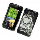 Hard Plastic Rubber Feel Design Case for HTC Titan X310e - Black Skull and Angels