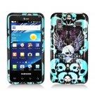 Hard Plastic Design Case for Samsung Captivate Glide 4G - Blue Skulls and Wing