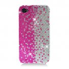 Hard Plastic Bling Rhinestone Design Case for Apple iPhone 4/4S - Silver and Pink
