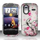 Hard Plastic Rubber Feel Design Case for HTC Amaze 4G/Ruby - Silver and Pink Flowers