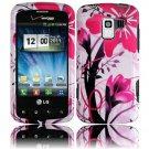 Hard Plastic Design Case for LG Enlighten VS700/Optimus Slider LS700 - Pink Flower
