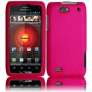 Hard Plastic Rubber Feel Case for Motorola Droid 4 XT894 (Verizon) - Hot Pink