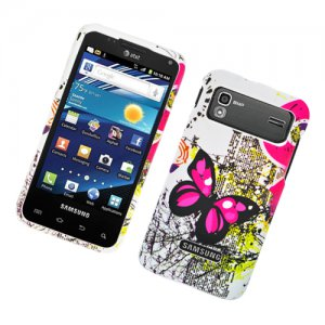 Hard Plastic Rubber Feel Design Case for Samsung Captivate Glide 4G - Dual Pink Butterfly