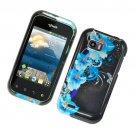 Hard Plastic Glossy Design Case for LG myTouch Q C800/Maxx Q - Four blue Flowers