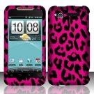 Hard Plastic Rubber Feel Design Case for HTC Merge 6325 - Hot Pink Leopard