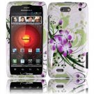 Hard Plastic Design Case for Motorola Droid 4 XT894 (Verizon) - Green and Purple Lily