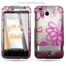 Hard Plastic Rubber Feel Design Case for HTC Thunderbolt 4G (Verizon) - Lime Flowers