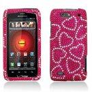 Hard Plastic Bling Rhinestone Design Case for Motorola Droid 4 XT894 - Hot Pink Hearts