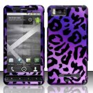 Hard Plastic Rubber Feel Design Case for Motorola Droid X/X 2 - Purple Leopard