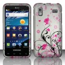 Hard Plastic Rubber Feel Design Case for Samsung Captivate Glide 4G - Silver and Pink Flowers