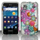 Hard Plastic Rubber Feel Design Case for Samsung Captivate Glide 4G - Purple and Blue Flowers