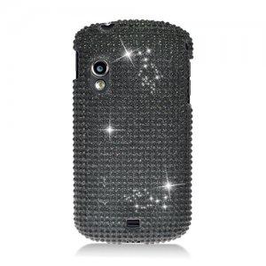 Hard Plastic Bling Rhinestone Design Case for Samsung Stratosphere i405 - Black