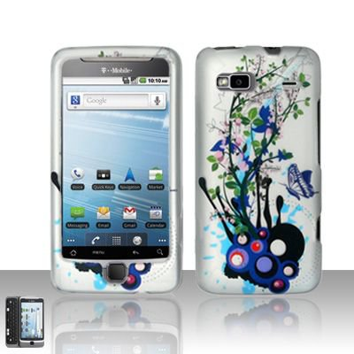 Hard Plastic Rubber Feel Design Case for HTC G2 - White and Purple Flowers