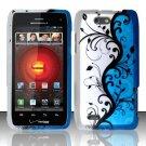 Hard Plastic Rubber Feel Design Case for Motorola Droid 4 XT894 (Verizon) - Silver and Blue Vines