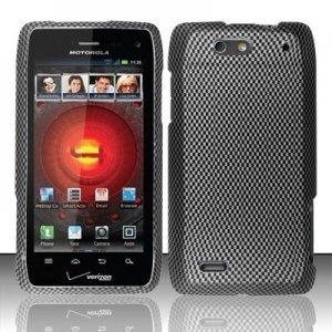 Hard Plastic Rubber Feel Design Case for Motorola Droid 4 XT894 (Verizon) - Carbon Fiber