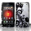 Hard Plastic Rubber Feel Design Case for Motorola Droid 4 XT894 (Verizon) - Silver and Black Vines