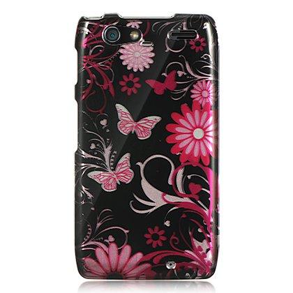 Hard Plastic Design Case for Motorola Droid RAZR Maxx XT916 - Pink Butterfly
