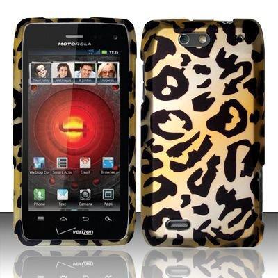 Hard Plastic Rubber Feel Design Case for Motorola Droid 4 XT894 (Verizon) - Golden Cheetah