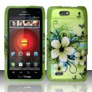 Hard Plastic Rubber Feel Design Case for Motorola Droid 4 (Verizon) - Green Flowers and Butterfly