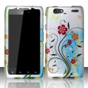 Hard Plastic Rubber Feel Design Case for Motorola Droid RAZR Maxx XT916 - Flowery Design