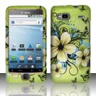 Hard Plastic Rubber Feel Design Case for HTC G2 - Green Flowers and Butterfly