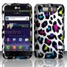 Hard Plastic Rubberized Design Case for LG Connect 4G (MetroPCS)/Viper 4G (Sprint) - Rainbow Leopard