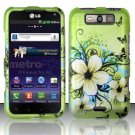 Hard Plastic Rubberized Design Case for LG Connect 4G (MetroPCS)/Viper 4G (Sprint) - Green Butterfly
