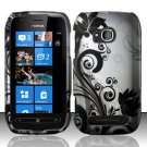 Hard Plastic 2 Piece Snap On Rubberized Case for Nokia Lumia 710 - Silver and Black Vines