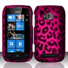 Hard Plastic 2 Piece Snap On Rubberized Case for Nokia Lumia 710 - Hot Pink Leopard