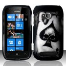 Hard Plastic 2 Piece Snap On Rubberized Case for Nokia Lumia 710 - Ace of Spade Skull