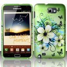 Hard Plastic Snap On Rubberized Design Case for Samsung Galaxy Note - Green Flowers & Butterfly
