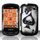 Hard Plastic 2 Piece Snap On Rubberized Design Case for Samsung Brightside U380 - Ace of Spade Skull